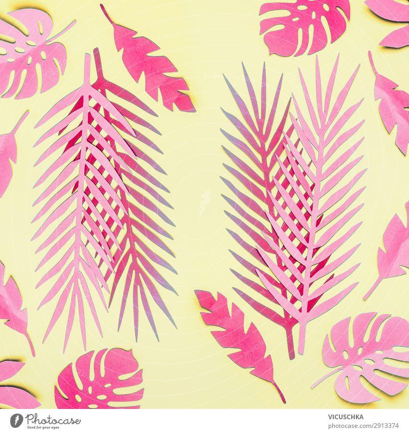 Rosa tropische Blätter auf gelb Sommer Pflanze Blatt Hintergrundbild Stil Mode rosa Design trendy exotisch Surrealismus Pflanzenteile
