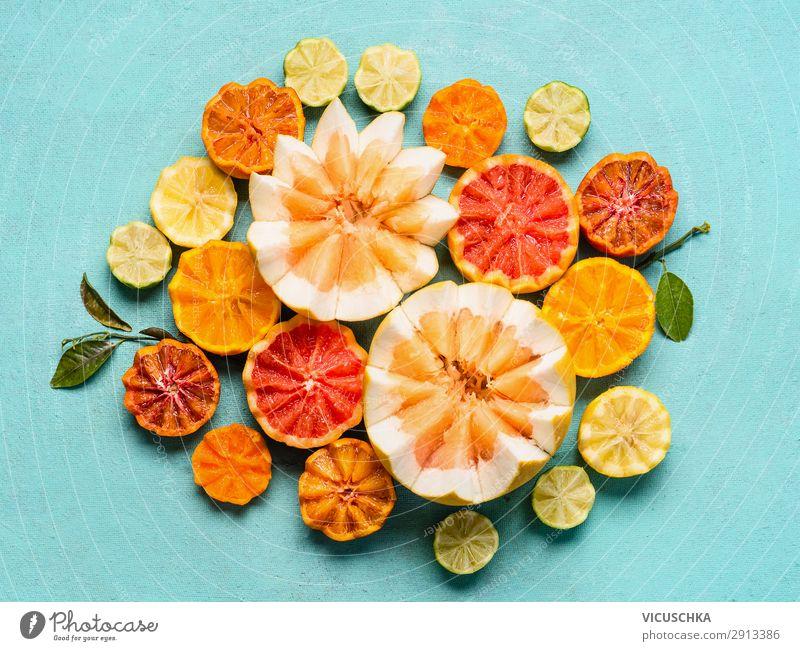 Verschiedene Zitrusfrüchte auf hellblauem Hintergrund Lebensmittel Frucht Orange Ernährung Bioprodukte kaufen Stil Design Gesundheit Gesunde Ernährung gelb