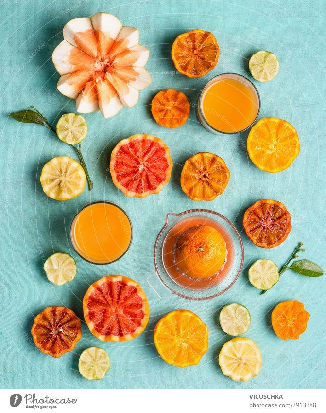 Frisch gepresster Zitrussaft Lebensmittel Frucht Orange Getränk Saft Glas Stil Design Gesunde Ernährung Sommer gelb Hintergrundbild Grapefruit Vitamin C Pomelo