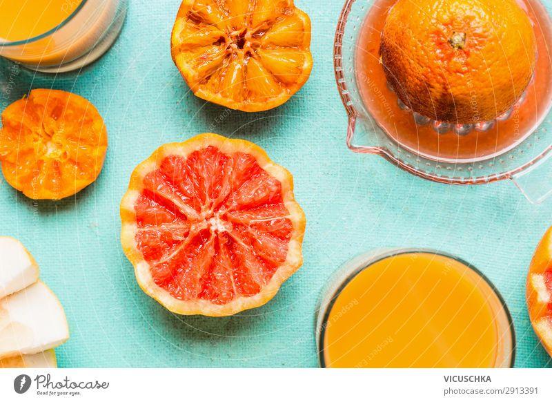 Frisch gepressten Orangensaft Lebensmittel Ernährung Frühstück Getränk Saft kaufen Stil Design Gesundheit Gesunde Ernährung gelb Hintergrundbild Vitamin