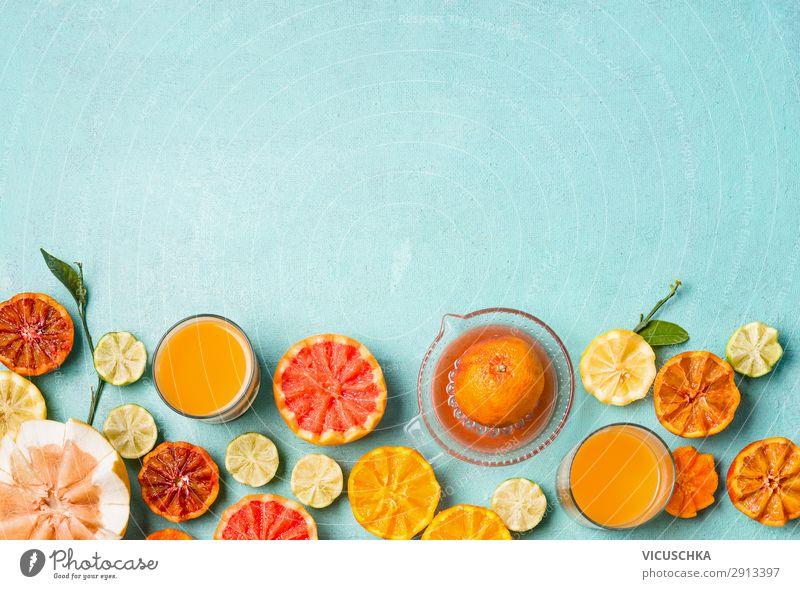 Zitrus Früchten und Saft Lebensmittel Frucht Orange Ernährung Frühstück Bioprodukte Getränk trinken Geschirr Stil Design Gesundheit Gesunde Ernährung