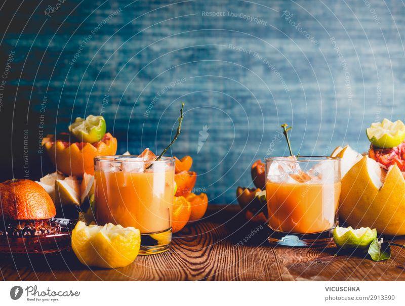 Verschiedene Zitrusfrüchte und Saft Lebensmittel Frucht Orange Ernährung Getränk Stil Design Gesundheit Gesunde Ernährung gelb citrus mix Hintergrundbild
