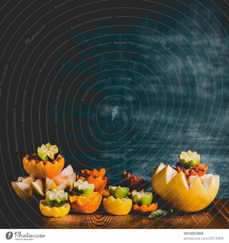 Bunte Zitrusfrüchte auf dem Tisch Lebensmittel Frucht Orange Ernährung Bioprodukte Vegetarische Ernährung Diät kaufen Stil Design Gesunde Ernährung