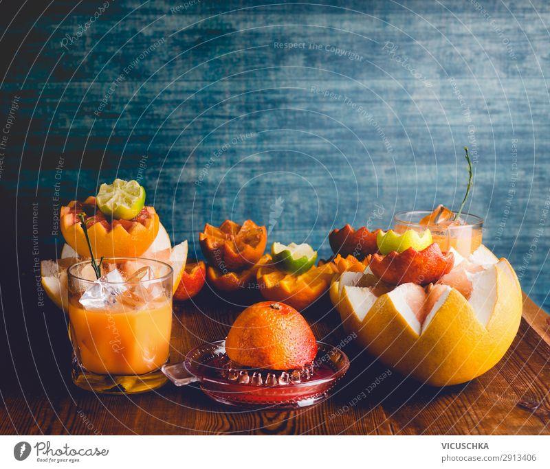 Zitrusfrüchte und Saft in Glas Gesunde Ernährung Gesundheit Lebensmittel Hintergrundbild gelb Stil Frucht Design Orange Getränk Bioprodukte