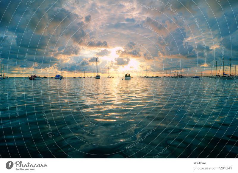 Guten Morgen! Natur Landschaft Wasser Himmel Wolken Sonnenaufgang Sonnenuntergang Sonnenlicht Schönes Wetter Küste Seeufer Bucht Meer Michigan See Chicago USA