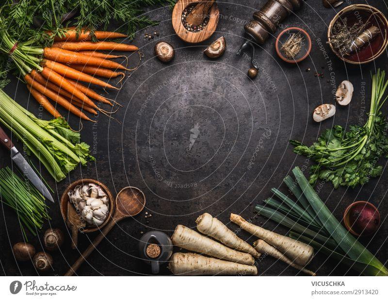 Verschiedene Bio Bauernhof Gemüse Rahmen Lebensmittel Kräuter & Gewürze Ernährung Bioprodukte Vegetarische Ernährung Diät Geschirr kaufen Stil Design