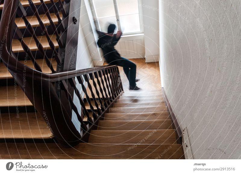 Rutsche Treppenhaus Treppengeländer Altbau Mann rutschen spass abwärts Anfang Start Dynamik Bewegung Bewegungsunschärfe Student Wohngemeinschaft studentenleben