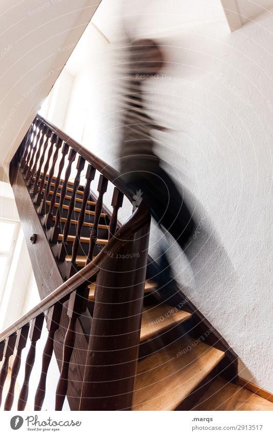 Schwung Lifestyle Innenarchitektur Treppe Treppengeländer Mensch 1 Fröhlichkeit Vorfreude Bewegung Freude Geschwindigkeit rutschen Dynamik Farbfoto