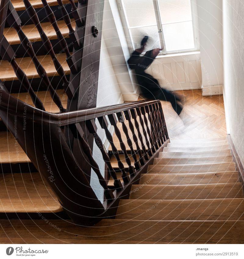 Start in den Tag Mensch Junger Mann Jugendliche 1 Treppenhaus Treppengeländer alt Freude Lebensfreude Mut Beginn Bewegung rutschen Altbau Arbeitsweg Dynamik