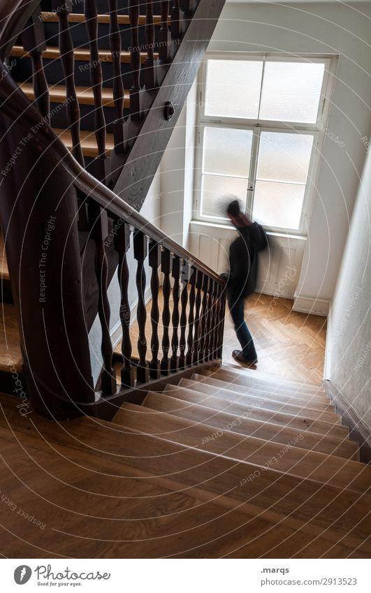 Einkaufen gehen Mann Erwachsene 1 Mensch Treppe Treppenhaus rennen Geschwindigkeit Bewegung Stress Farbfoto Innenaufnahme Textfreiraum unten Bewegungsunschärfe