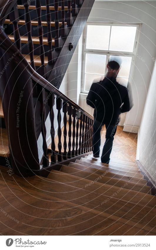 Treppen steigen Mann Erwachsene 1 Mensch Treppenhaus rennen Geschwindigkeit Bewegung Stress Farbfoto Innenaufnahme Textfreiraum unten Bewegungsunschärfe