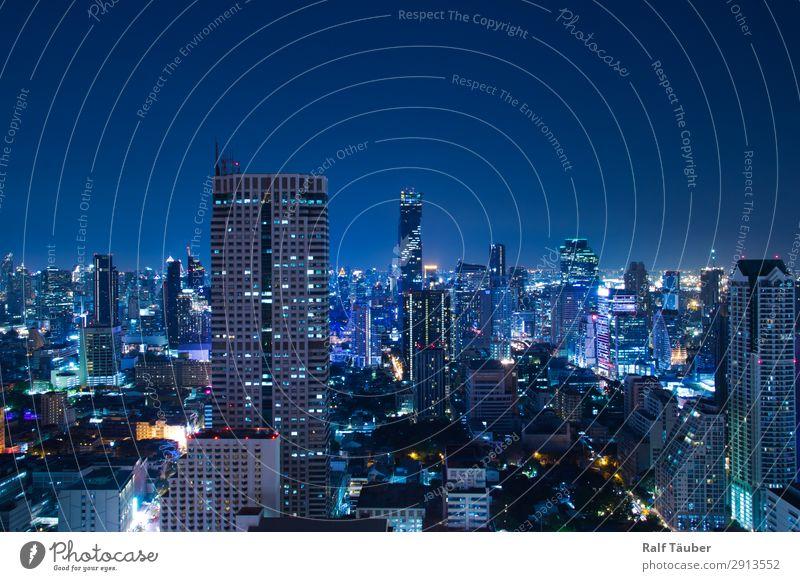 Bangkok bei Nacht Thailand Asien Hauptstadt Stadtzentrum Skyline Architektur modern blau Skyline bei Nacht Farbfoto Außenaufnahme Menschenleer