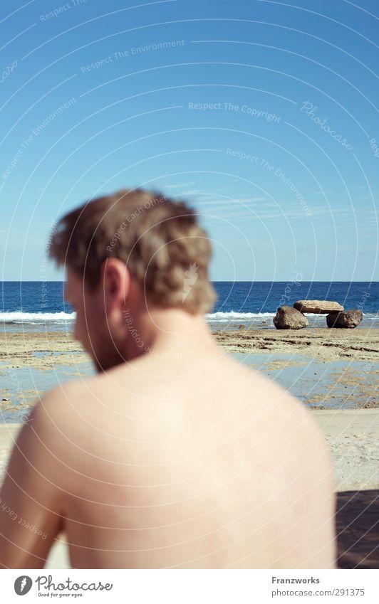 Apacheta Junger Mann Jugendliche Rücken 1 Mensch 30-45 Jahre Erwachsene Gemälde Natur Himmel Wolkenloser Himmel Horizont Klima Klimawandel Wetter Schönes Wetter