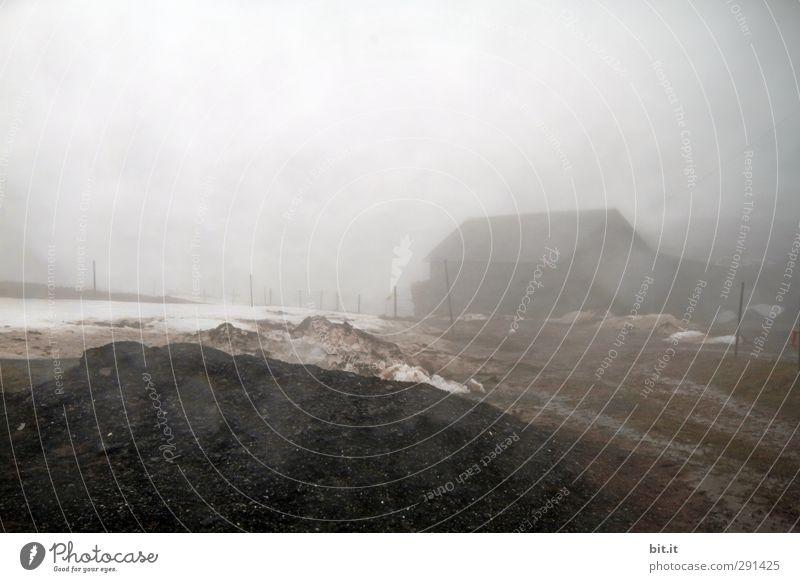 Störfaktor | Nebelniesel auf der Linse Umwelt Natur Urelemente Erde Luft Himmel Winter Eis Frost Hügel Haus Hütte alt Armut bedrohlich dreckig kalt braun grau
