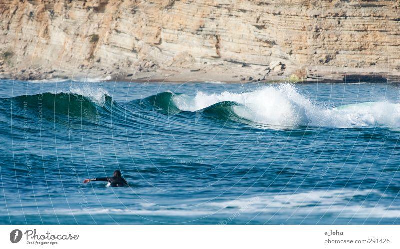 playground Lifestyle Sport Wassersport Surfen Surfbrett Neoprenanzug Mensch maskulin 1 Natur Landschaft Urelemente Sommer Schönes Wetter Alpen Wellen Küste Meer