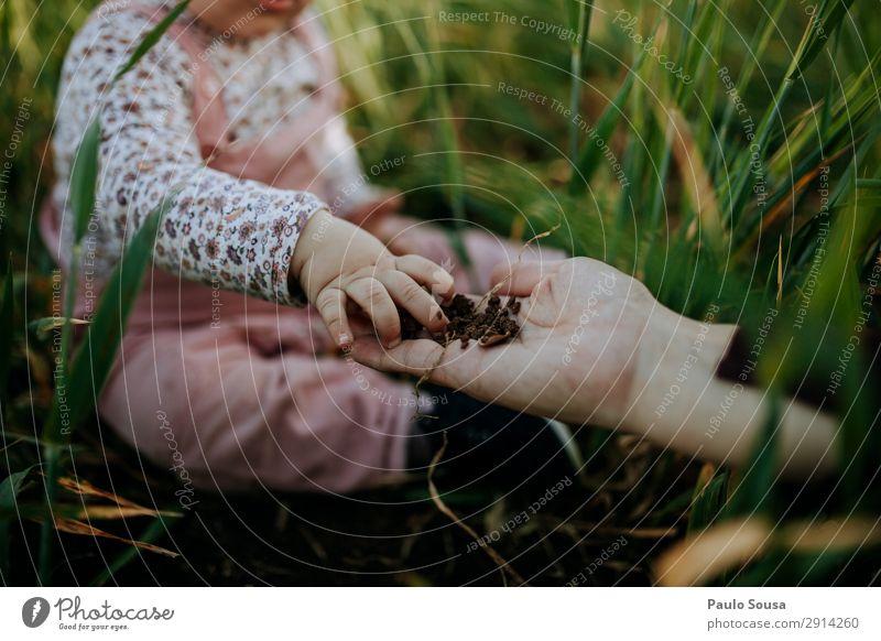 Babyhand berührt Erde Lifestyle Camping wandern Kindererziehung Mensch Kleinkind Mädchen Mutter Erwachsene Hand 1-3 Jahre Umwelt Natur Frühling Schönes Wetter