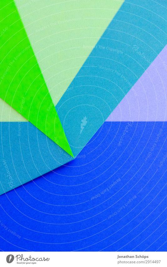 grafisches Hintergrundbild aus Buntpapier Basteln Papier einfach blau grün flach Geometrie graphisch Entwurf minimalistisch neongrün Karton Textfreiraum