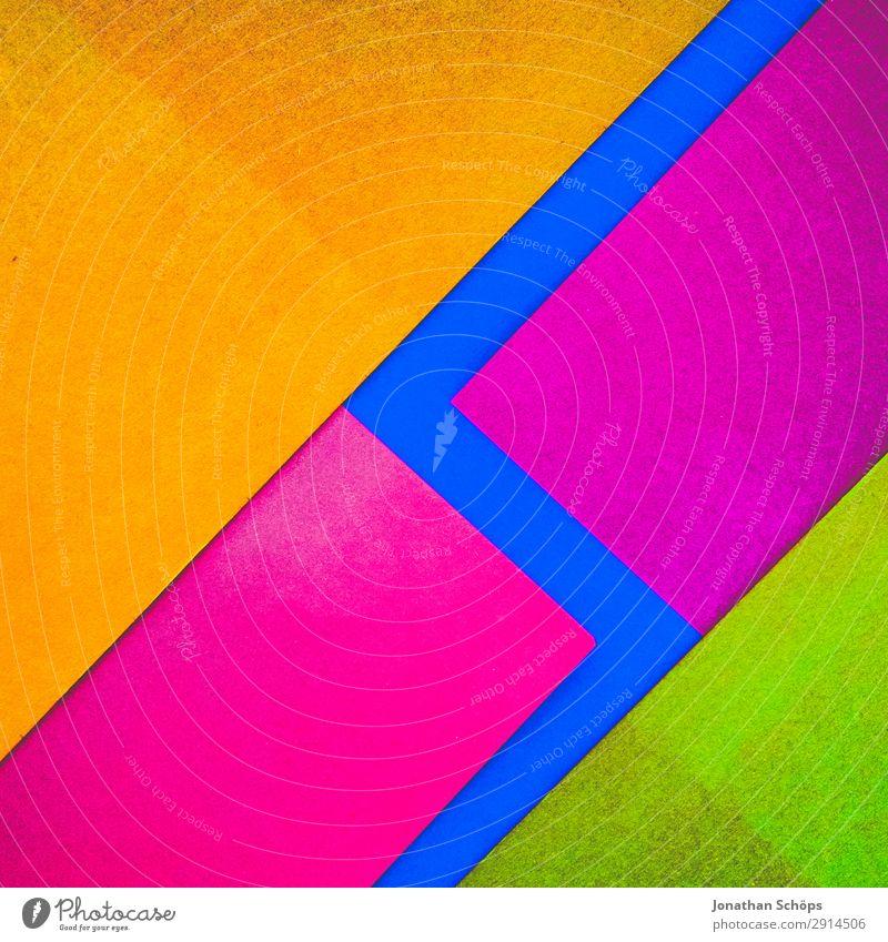 grafisches Hintergrundbild aus Buntpapier Basteln Papier leuchten einfach blau gelb rosa rot flach Geometrie graphisch grell Entwurf minimalistisch Karton