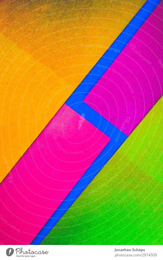 grafisches Hintergrundbild aus Buntpapier blau rot gelb Textfreiraum rosa leuchten Papier einfach graphisch eckig Basteln Geometrie Entwurf Karton neonfarbig