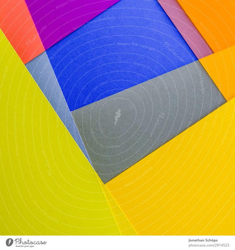 grafisches Hintergrundbild aus Buntpapier blau Farbe rot gelb Textfreiraum rosa leuchten Papier einfach graphisch Doppelbelichtung Quadrat Basteln Geometrie