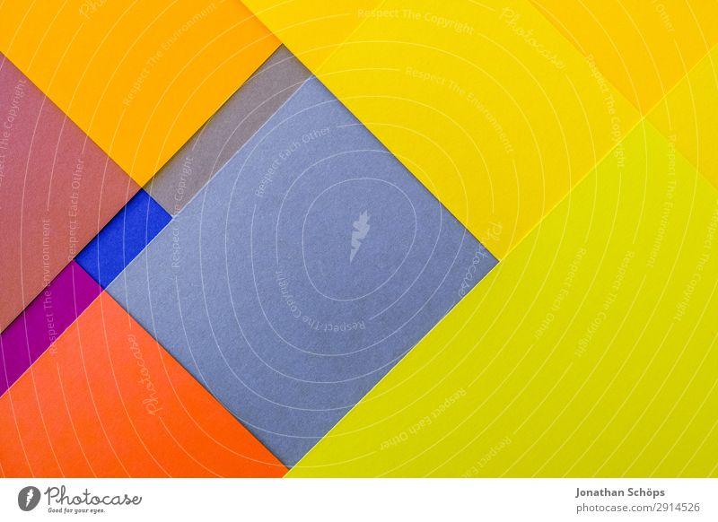 grafisches Hintergrundbild aus Buntpapier blau Farbe rot gelb Textfreiraum orange leuchten Papier einfach Neigung graphisch Doppelbelichtung Quadrat Basteln