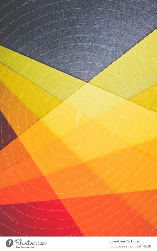 grafisches Hintergrundbild aus Buntpapier Basteln Papier einfach gelb rot flach Geometrie graphisch Entwurf minimalistisch Karton Textfreiraum Doppelbelichtung