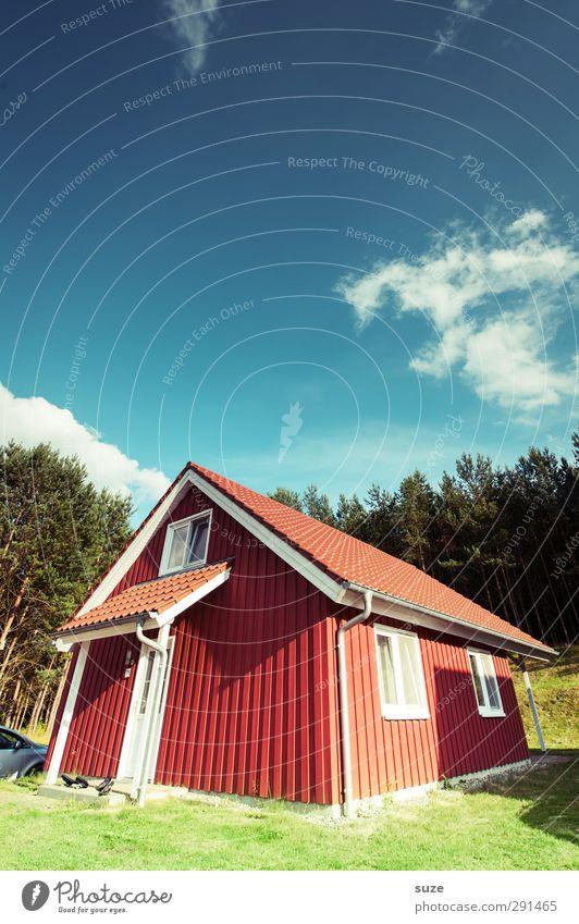 Sommerhaus Ferien & Urlaub & Reisen Häusliches Leben Wohnung Haus Umwelt Natur Landschaft Himmel Wolken Klima Schönes Wetter Baum Wiese Wald Hütte Gebäude