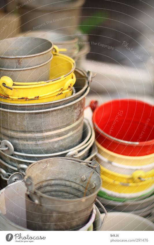 viele Töpfe geben noch lange keinen Garten Freizeit & Hobby Basteln Dekoration & Verzierung alt rund gelb rot silber Blech Eimer Kübel Behälter u. Gefäße