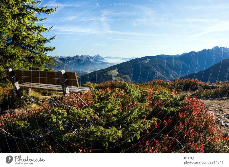 Platz zum Träumen Erholung ruhig Meditation Natur Herbst Alpen Berge u. Gebirge Bank Fernweh Einsamkeit Aussicht Ferne Farbfoto mehrfarbig Außenaufnahme