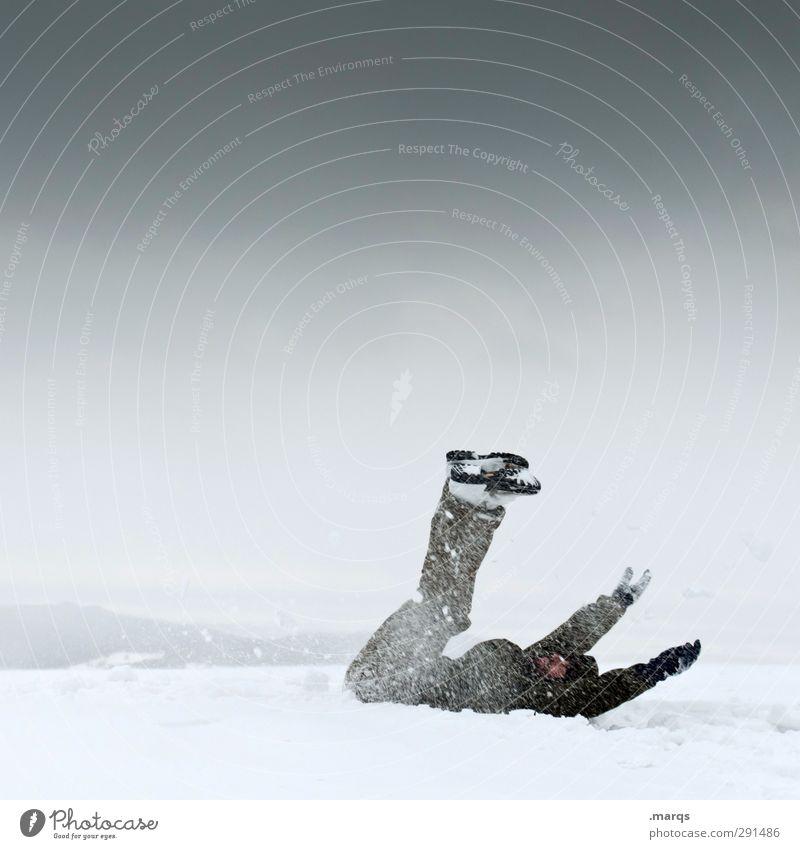 Glatt Ausflug Mensch maskulin Erwachsene 1 Natur Landschaft Himmel Winter Klima Eis Frost Schnee fallen kalt achtsam gefährlich Sicherheit Unfall ausrutschen