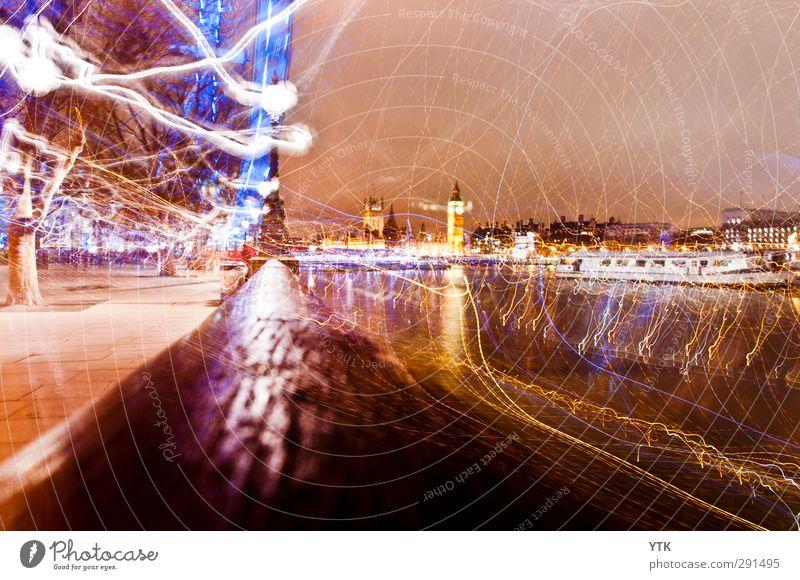 London Electric London Eye Big Ben Themse Hauptstadt Stadtzentrum bevölkert Haus Bauwerk Gebäude Architektur Sehenswürdigkeit Wahrzeichen Denkmal fantastisch
