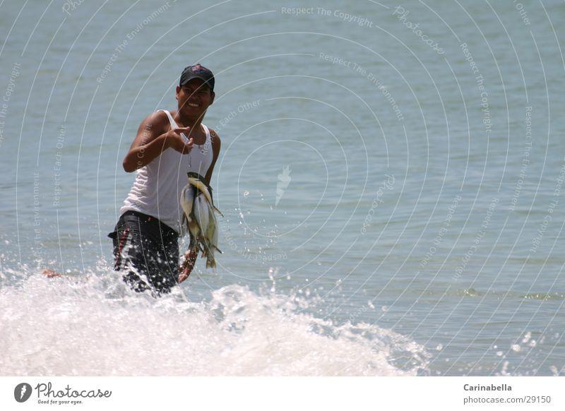 Fischer Mann Meer Wellen Fisch Fischer