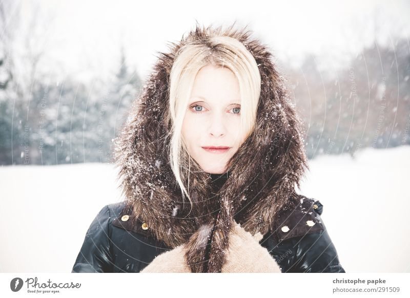 Eisprinzessin Mensch Jugendliche schön Winter Junge Frau Erwachsene kalt Schnee feminin 18-30 Jahre Stil hell Schneefall blond elegant