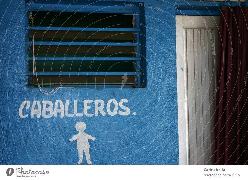 Männer! blau Fenster Tür Toilette obskur Beschriftung