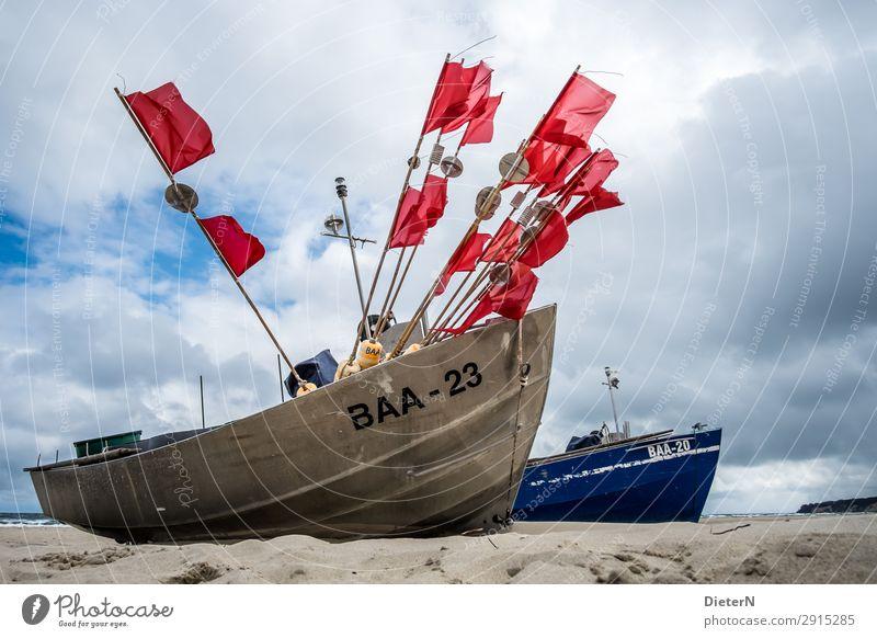 Wehen Meer Strand Ostsee Sand Fischerboot Stangen Boot