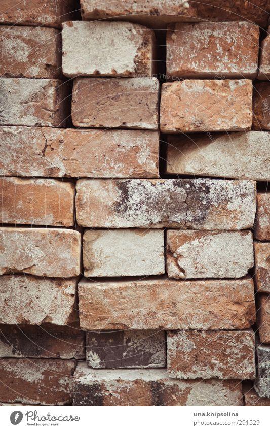 baut wieder auf II Wand Mauer Stein dreckig Baustelle Bauwerk Backstein Material bauen Stapel aufräumen