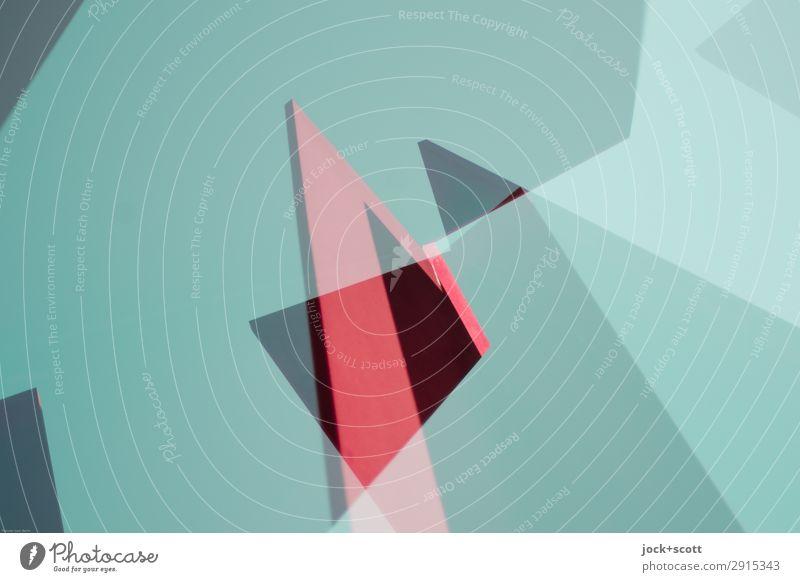 Kantige Farben, Formen aus dem Rahmen gefallen Skulptur Denkmal Metall sportlich außergewöhnlich eckig oben grün rosa rot Stimmung Kraft beweglich Design