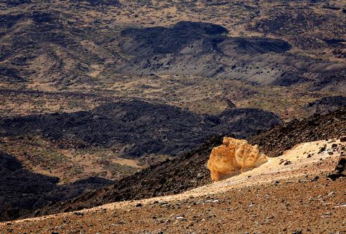 Urlaub auf'm Mond Ferien & Urlaub & Reisen wandern Natur Landschaft Erde Hügel Felsen Vulkan Teide Teneriffa oben braun gelb karg Stein Kies Kraterrand Farbfoto