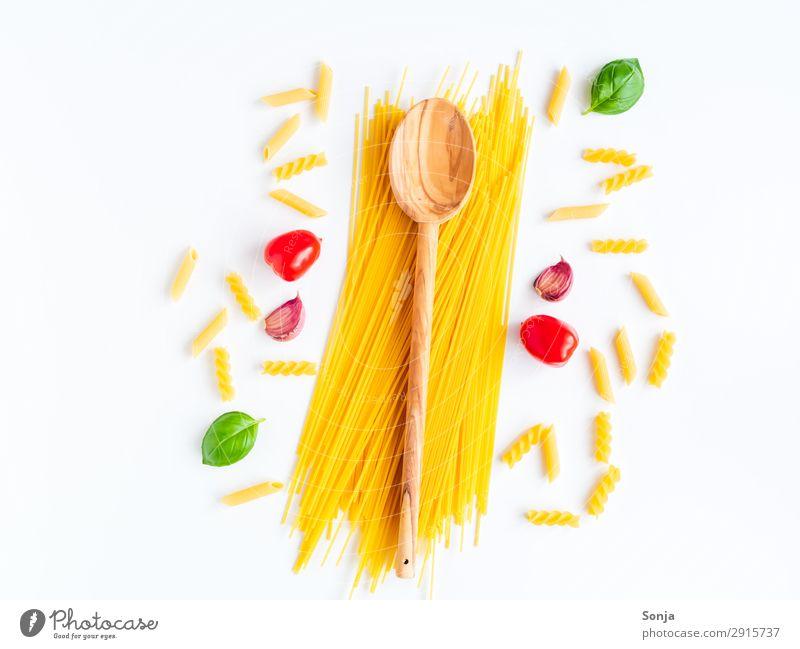 Italienische Küche Lebensmittel Gemüse Teigwaren Backwaren Kräuter & Gewürze Spaghetti Tomate Knoblauch Basilikum Ernährung Mittagessen Bioprodukte