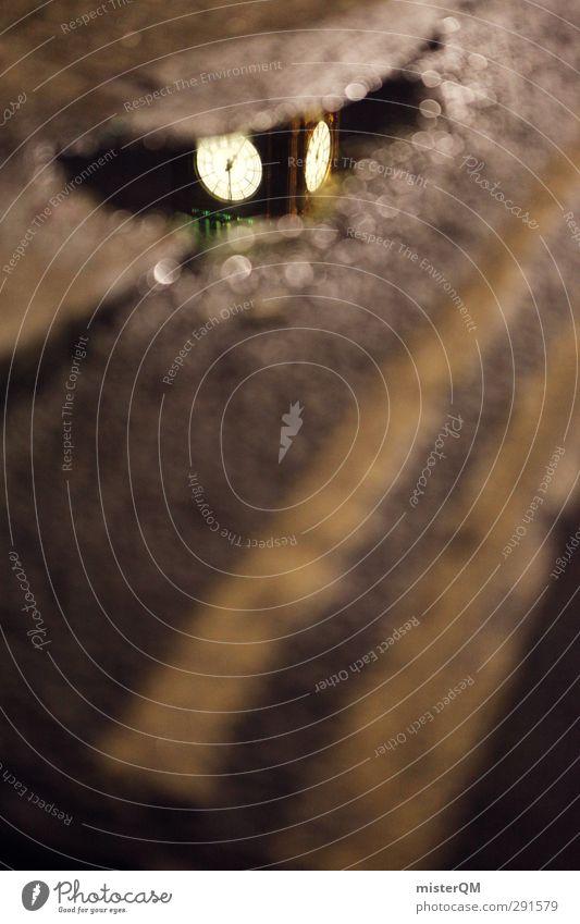 Little Big. Kunst ästhetisch London Wahrzeichen Sehenswürdigkeit Big Ben Uhr Glockenturm Straßenbelag Straßenrand Reflexion & Spiegelung Surrealismus Fernweh