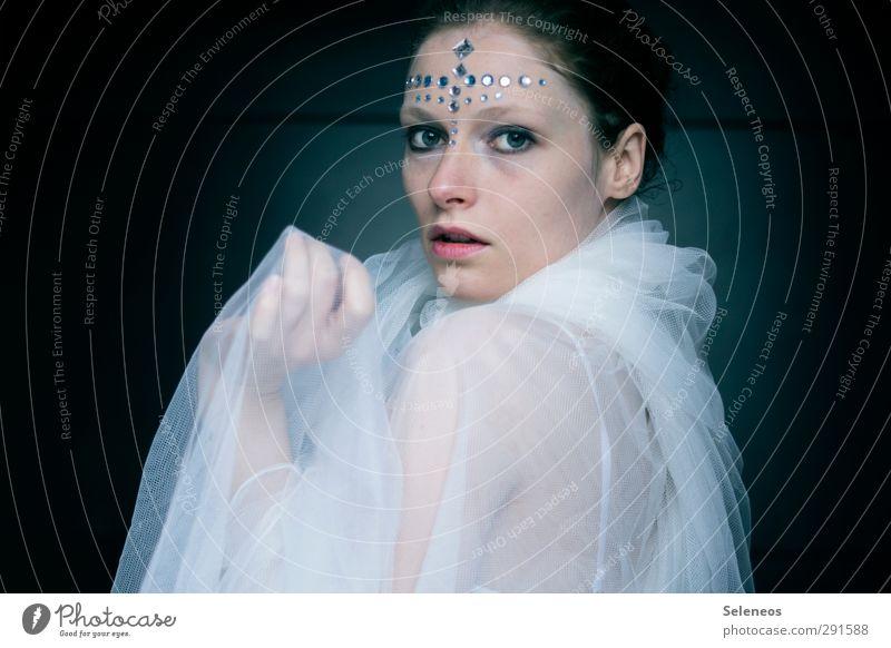 Phantasien schön Körper Haut Gesicht Kosmetik Schminke Mensch feminin Frau Erwachsene Auge Mund Lippen 1 Theaterschauspiel Stoff Accessoire Schmuck ästhetisch