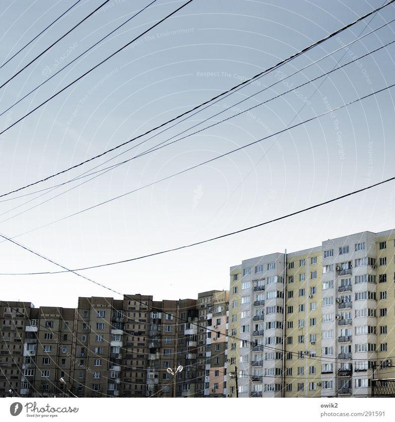 Stromschnellen Energiewirtschaft Chisinau Moldawien Osteuropa Hauptstadt Stadtzentrum bevölkert Haus Hochhaus Mauer Wand Fassade Fenster hängen Armut bedrohlich
