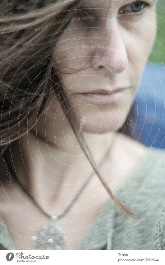 nachdenkliches Gesicht eine Frau mit wehenden Haaren Erwachsene Kopf Haare & Frisuren 1 Mensch 30-45 Jahre brünett langhaarig Denken natürlich Gefühle Stimmung
