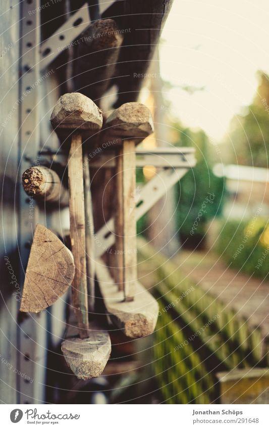 leider ne' Leiter Holz Tatkraft Garten Gartenhaus Scheune Zaun Warme Farbe braun gelb Halterung aufbewahren hängend Holzleiter 2 Rückseite Wand Idylle