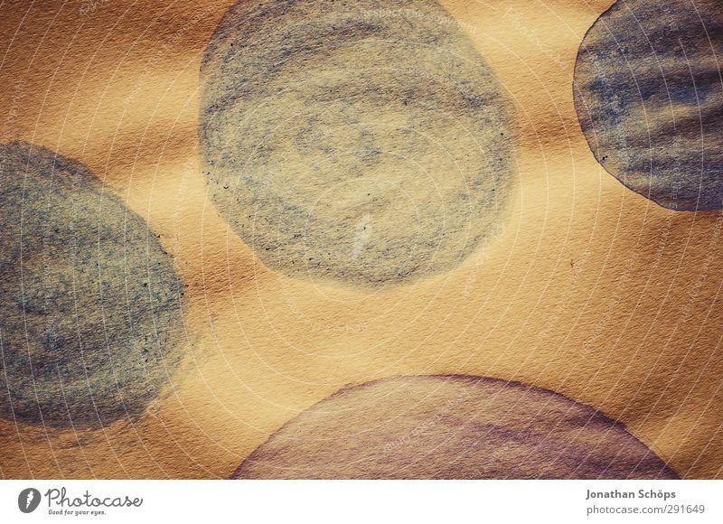 Tatze Kunst Kunstwerk Gemälde ästhetisch rund Kreis Pfote Abdruck kreisen Runde Sache gemalt Farbe Papier Aquarell Acrylfarbe Retro-Farben 4 blau violett braun