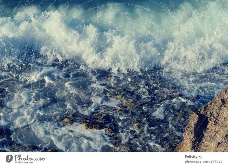 Wild water Umwelt Natur Wasser Wassertropfen Schönes Wetter Wellen Küste Bucht Meer Stein Sand Flüssigkeit frisch wild blau türkis weiß Fernweh Farbfoto