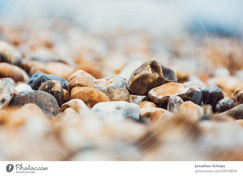 Steine am Strand Nahaufnahme Natur Meer Umwelt Küste ästhetisch Insel Seeufer Flussufer England hart achtsam steinig Kieselsteine Kieselstrand