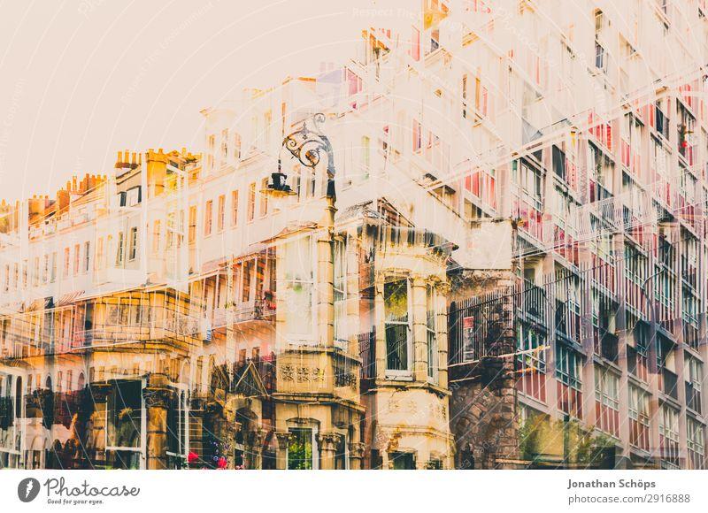 Mehrfachbelichtung mit Wohnhäusern in England Stadt Haus Architektur gelb Gebäude Kunst Fassade Häusliches Leben retro träumen ästhetisch Bauwerk Laterne