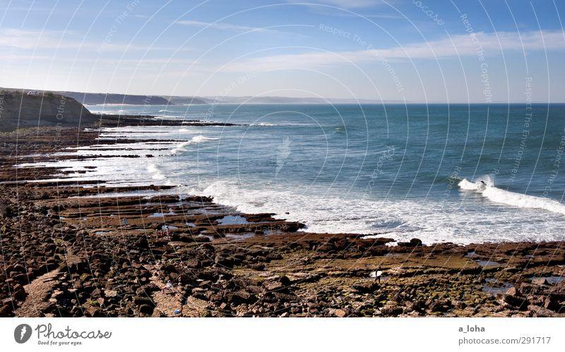 hier kommt die flut Sport Wassersport Umwelt Natur Landschaft Urelemente Erde Himmel Wolken Sommer Schönes Wetter Felsen Wellen Küste Strand Riff Meer Fernweh