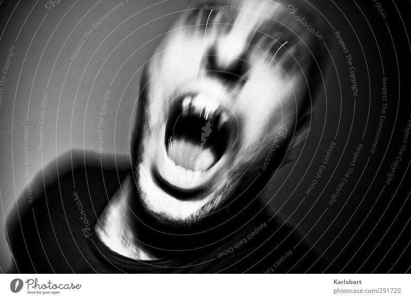 angst. Halloween Mensch maskulin Mann Erwachsene Kopf 1 hässlich Schmerz Angst Entsetzen Todesangst Verzweiflung Ekel Aggression Endzeitstimmung bedrohlich